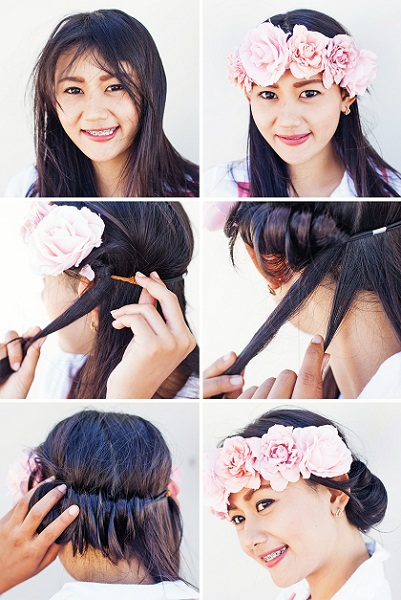 Wedding Hairstyle with Flower Crown Headband