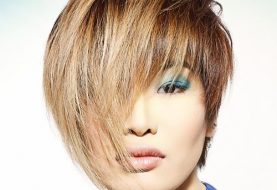 Short Straight Alternative  Pixie  Hairstyle with Asymmetrical Bangs  -  Brunette and  Blonde Two-Tone Hair Color