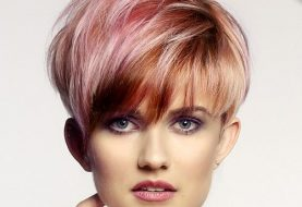 Short Straight Alternative  Pixie  Hairstyle with Layered Bangs  - Pink  Hair Color with  Red Highlights