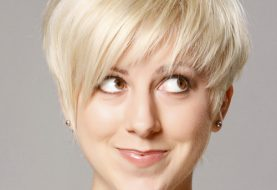 Short Straight Casual Layered Pixie  Hairstyle   - Platinum Hair Color