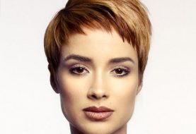 Short Straight Casual  Pixie  Hairstyle with Asymmetrical Bangs  -  Red Hair Color
