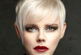 Short Straight Casual  Pixie  Hairstyle with Layered Bangs  - Light Blonde Hair Color