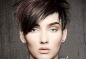 Short Straight Casual  Pixie  Hairstyle with Razor Cut Bangs  - Dark Burgundy Brunette Hair Color