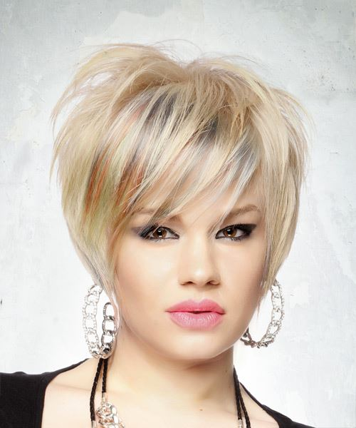 Short Straight Casual  Pixie  Hairstyle with Side Swept Bangs  – Light Blonde Hair Color