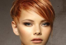 Short Straight Casual  Pixie  Hairstyle with Side Swept Bangs  -  Red Hair Color with Light Blonde Highlights