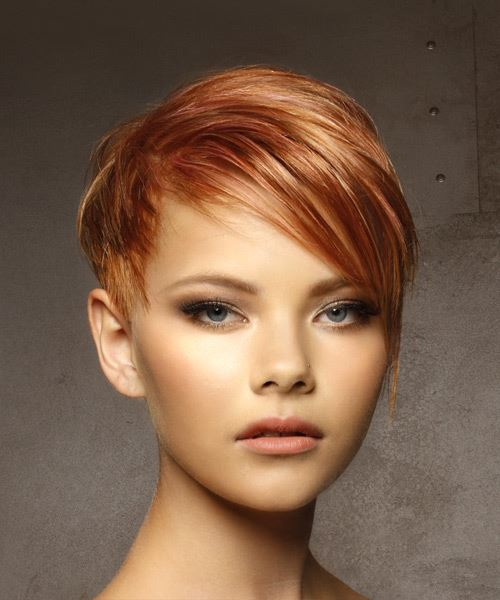 Short Straight Casual  Pixie  Hairstyle with Side Swept Bangs  –  Red Hair Color with Light Blonde Highlights