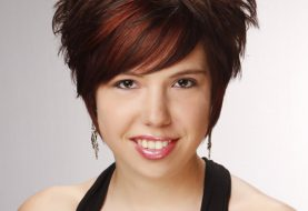 Short Straight Formal Layered Pixie  Hairstyle with Side Swept Bangs  -  Brunette Hair Color