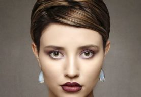 Short Straight Formal  Pixie  Hairstyle with Side Swept Bangs  -  Brunette Hair Color