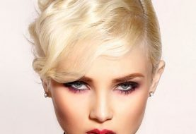 Short Straight Formal  Pixie  Hairstyle with Side Swept Bangs  - Light Blonde Hair Color