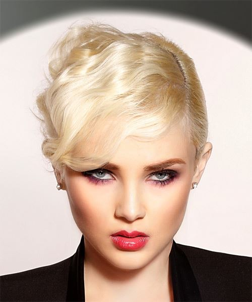 Short Straight Formal  Pixie  Hairstyle with Side Swept Bangs  – Light Blonde Hair Color