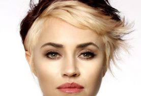Short Wavy Casual  Pixie  Hairstyle with Side Swept Bangs  - Light Blonde and Dark Brunette Two-Tone Hair Color